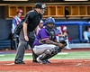 Cortland Crush Catcher Kam Holland (43) behind the plate against the Syracuse Salt Cats in New York Collegiate Baseball League playoff action at OCC Turf Field in Syracuse, New York on Thursday, July 25, 2019. Cortland won 3-1.