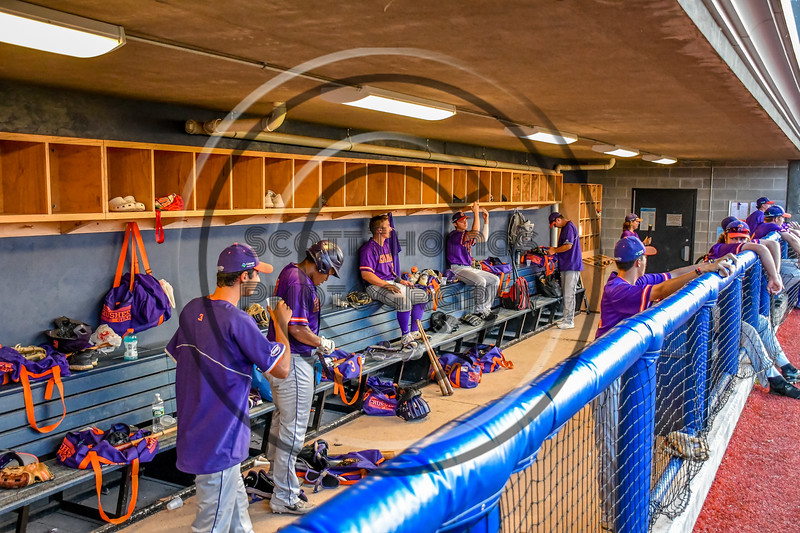 Cortland Crush dugout during a New York Collegiate Baseball League playoff game against the Syracuse Salt Cats at OCC Turf Field in Syracuse, New York on Thursday, July 25, 2019. Cortland won 3-1.