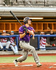Cortland Crush Alex Flock (10) after hitting the ball against the Syracuse Salt Cats in New York Collegiate Baseball League playoff action at OCC Turf Field in Syracuse, New York on Thursday, July 25, 2019. Cortland won 3-1.
