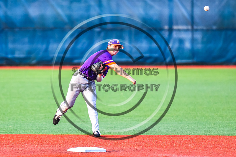 Cortland Crush Anthony Cieszko (3) throwing the ball against the Syracuse Salt Cats in New York Collegiate Baseball League playoff action at OCC Turf Field in Syracuse, New York on Thursday, July 25, 2019. Cortland won 3-1.