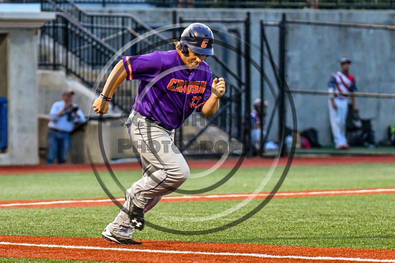 Cortland Crush Alex Babcock (33) running the bases against the Syracuse Salt Cats in New York Collegiate Baseball League playoff action at OCC Turf Field in Syracuse, New York on Thursday, July 25, 2019. Cortland won 3-1.