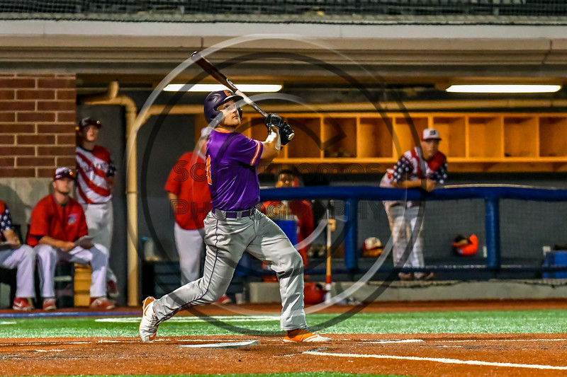 Cortland Crush Dylan Nolan (14) at bat against the Syracuse Salt Cats in New York Collegiate Baseball League playoff action at OCC Turf Field in Syracuse, New York on Thursday, July 25, 2019. Cortland won 3-1.