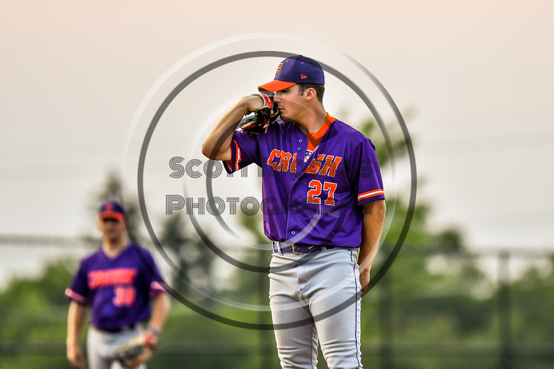"""Cortland Crush Pitcher Brandon """"Buzz"""" Shirley (27) on the mound against the Syracuse Salt Cats in New York Collegiate Baseball League playoff action at OCC Turf Field in Syracuse, New York on Thursday, July 25, 2019. Cortland won 3-1."""