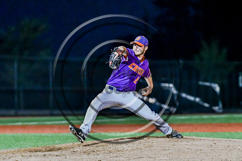 Cortland Crush Ridge Walker (21) pitching against the Syracuse Salt Cats in New York Collegiate Baseball League playoff action at OCC Turf Field in Syracuse, New York on Thursday, July 25, 2019. Cortland won 3-1.