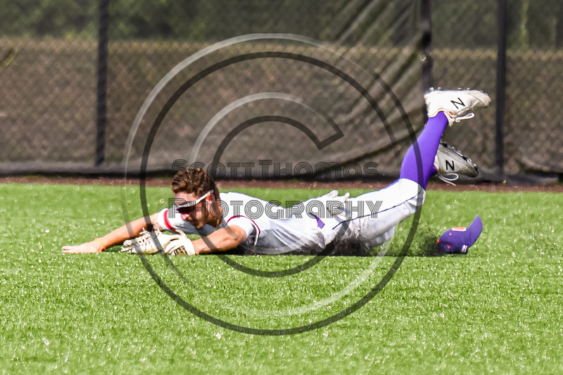 Cortland Crush Nicholas Pastore (1) lays out to ctach a line drive for an out against the Niagara Power in New York Collegiate Baseball League playoff action at Gutchess Lumber Sports Complex in Cortland, New York on Saturday, July 27, 2019. Niagara won 10-6.