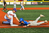 Cortland Crush Stephen Bennett (30) misses beating the Niagara Power runner at Third Base in New York Collegiate Baseball League playoff action at Gutchess Lumber Sports Complex in Cortland, New York on Saturday, July 27, 2019. Niagara won 10-6.