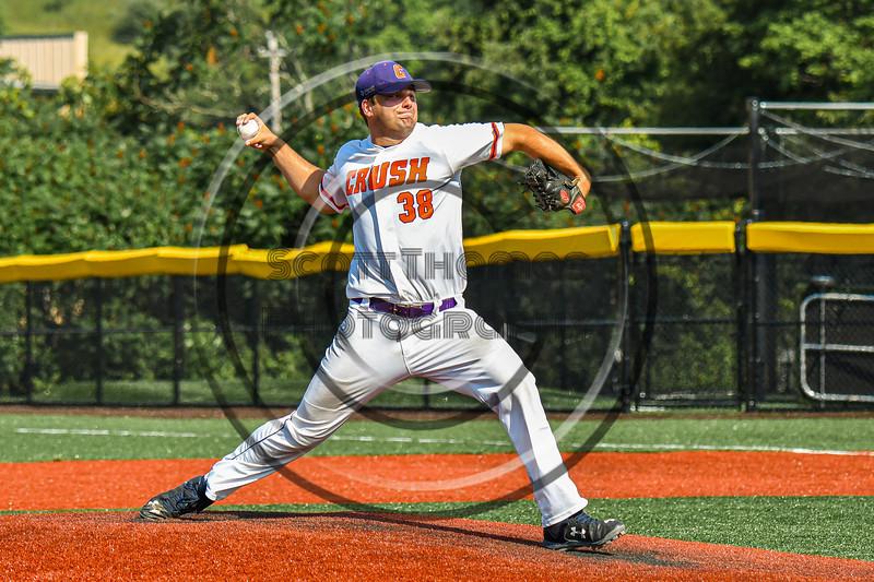 Cortland Crush Ryan Reicoff (38) pitching against the Niagara Power in New York Collegiate Baseball League playoff action at Gutchess Lumber Sports Complex in Cortland, New York on Saturday, July 27, 2019. Niagara won 10-6.