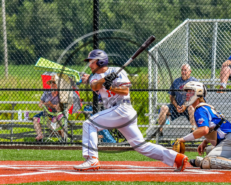 Cortland Crush Dylan Nolan (14) after hitting the ball against the Niagara Power in New York Collegiate Baseball League playoff action at Gutchess Lumber Sports Complex in Cortland, New York on Saturday, July 27, 2019. Niagara won 10-6.