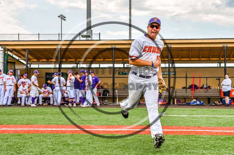 Cortland Crush Garrett Callghan (15) being introduced before playing the Niagara Power in the first game of the New York Collegiate Baseball League Championship Series at Gutchess Lumber Sports Complex in Cortland, New York on Saturday, July 27, 2019.