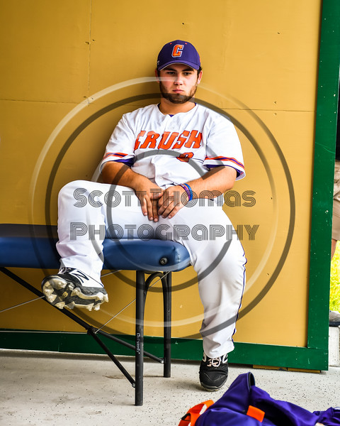 Cortland Crush Sean O'Malley (8) before playing the Niagara Power in the New York Collegiate Baseball League Championship Series at Gutchess Lumber Sports Complex in Cortland, New York on Saturday, July 27, 2019.