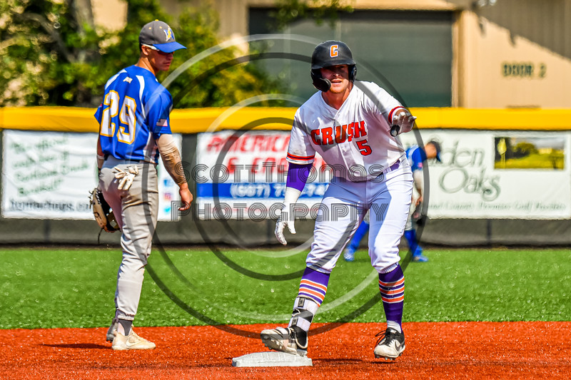 Cortland Crush Hayden Houts (5) asking for a timeout after hitting a Double against the Niagara Power in New York Collegiate Baseball League playoff action at Gutchess Lumber Sports Complex in Cortland, New York on Saturday, July 27, 2019. Niagara won 10-6.