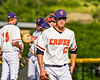 Cortland Crush Jimmy Tatum (17) walks in from the mound after pitching against the Niagara Power in New York Collegiate Baseball League playoff action at Gutchess Lumber Sports Complex in Cortland, New York on Saturday, July 27, 2019. Niagara won 10-6.