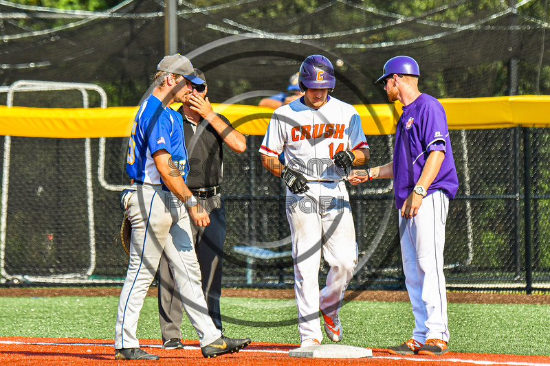 Cortland Crush Dylan Nolan (14) gets to First Base against the Niagara Power in New York Collegiate Baseball League playoff action at Gutchess Lumber Sports Complex in Cortland, New York on Saturday, July 27, 2019. Niagara won 10-6.