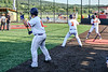 Cortland Crush Sean O'Malley (8), Anthony Cieszko (3) and Hayden Houts (5) prepare for their at bats against the Niagara Power in New York Collegiate Baseball League playoff action at Gutchess Lumber Sports Complex in Cortland, New York on Saturday, July 27, 2019. Niagara won 10-6.