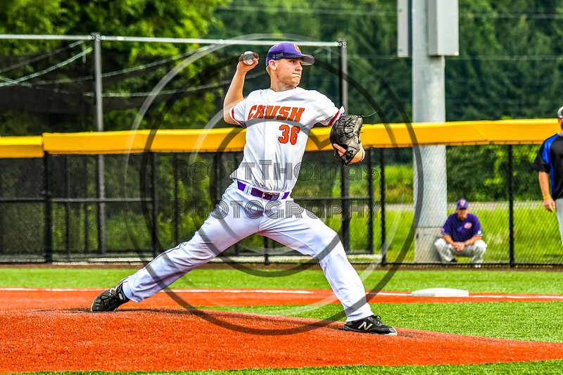 Cortland Crush Jared Strait (36) pitching against the Niagara Power in New York Collegiate Baseball League playoff action at Gutchess Lumber Sports Complex in Cortland, New York on Saturday, July 27, 2019. Niagara won 10-6.