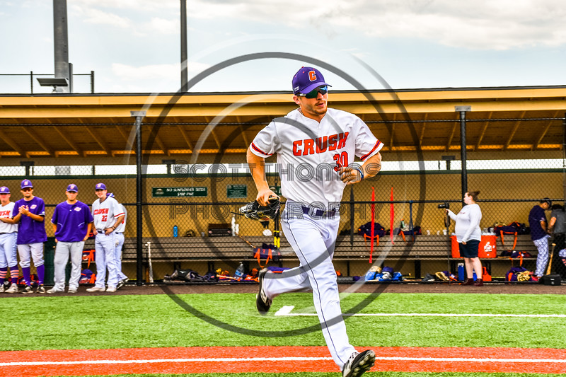 Cortland Crush Stephen Bennett (30) being introduced before playing the Niagara Power in the first game of the New York Collegiate Baseball League Championship Series at Gutchess Lumber Sports Complex in Cortland, New York on Saturday, July 27, 2019.