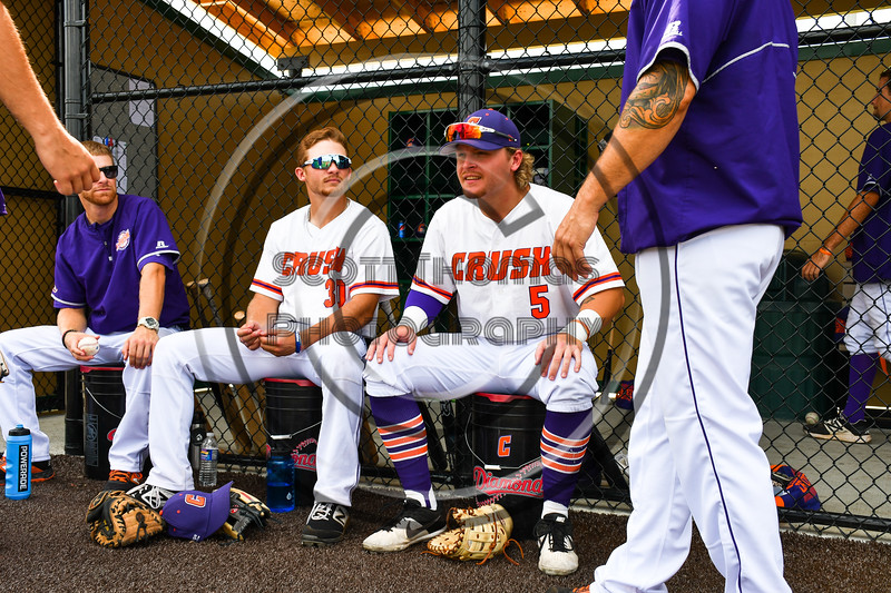 Cortland Crush players Stephen Bennett (30) and Hayden Houts (5) before playing the Niagara Power in the New York Collegiate Baseball League Championship Series at Gutchess Lumber Sports Complex in Cortland, New York on Saturday, July 27, 2019.