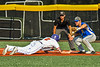 Cortland Crush Jack Lynch (2) slides back to First Base against Niagara Power Frank Lucska (25) in New York Collegiate Baseball League playoff action at Gutchess Lumber Sports Complex in Cortland, New York on Saturday, July 27, 2019. Niagara won 10-6.