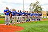 Niagara Power players stand for the National Anthem before playing in the New York Collegiate Baseball League Championship Series at Gutchess Lumber Sports Complex in Cortland, New York on Saturday, July 27, 2019.