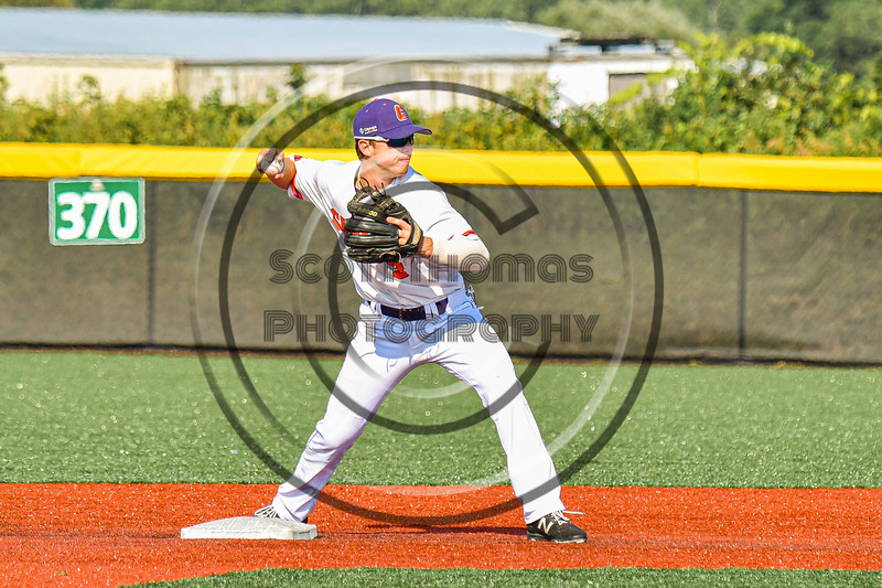 Cortland Crush Anthony Cieszko (3) tags up and throws the ball to complate a Double Play against the Niagara Power in New York Collegiate Baseball League playoff action at Gutchess Lumber Sports Complex in Cortland, New York on Saturday, July 27, 2019. Niagara won 10-6.