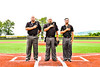Umpires stand for the National Anthem before playing in the New York Collegiate Baseball League Championship Series at Gutchess Lumber Sports Complex in Cortland, New York on Saturday, July 27, 2019.