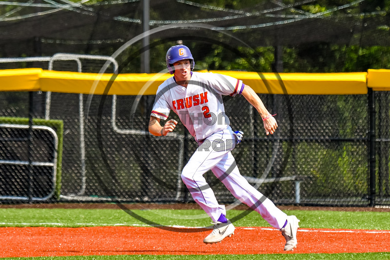 Cortland Crush Jack Lynch (2) running the bases against the Niagara Power in New York Collegiate Baseball League playoff action at Gutchess Lumber Sports Complex in Cortland, New York on Saturday, July 27, 2019. Niagara won 10-6.