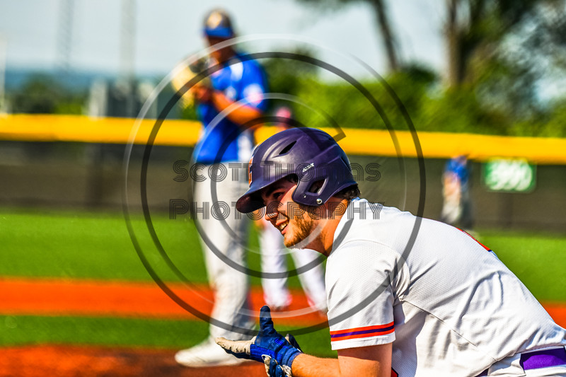 Cortland Crush Sean O'Malley (8) before his at bat against the Niagara Power in New York Collegiate Baseball League playoff action at Gutchess Lumber Sports Complex in Cortland, New York on Saturday, July 27, 2019. Niagara won 10-6.