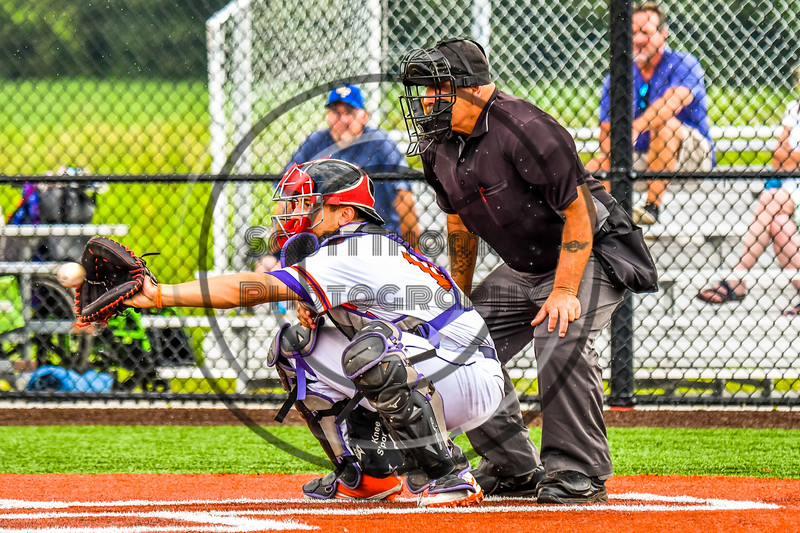 Cortland Crush Dylan Nolan (14) catching against the Niagara Power in New York Collegiate Baseball League playoff action at Gutchess Lumber Sports Complex in Cortland, New York on Saturday, July 27, 2019. Niagara won 10-6.