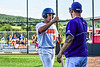 Cortland Crush Dylan Nolan (14) after scoring against the Niagara Power in New York Collegiate Baseball League playoff action at Gutchess Lumber Sports Complex in Cortland, New York on Saturday, July 27, 2019. Niagara won 10-6.