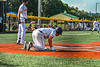 Cortland Crush Garrett Callghan (15) tumbles into Home Plate to score a run against the Niagara Power in New York Collegiate Baseball League playoff action at Gutchess Lumber Sports Complex in Cortland, New York on Saturday, July 27, 2019. Niagara won 10-6.