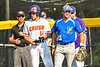 Cortland Crush Dylan Nolan (14) and Niagara Power Frank Lucska (25) at First Base in New York Collegiate Baseball League playoff action at Gutchess Lumber Sports Complex in Cortland, New York on Saturday, July 27, 2019. Niagara won 10-6.