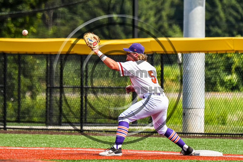 Cortland Crush Hayden Houts (5) paying First Base against the Niagara Power in New York Collegiate Baseball League playoff action at Gutchess Lumber Sports Complex in Cortland, New York on Saturday, July 27, 2019. Niagara won 10-6.