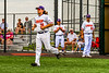 Cortland Crush Alex Babcock (33) being introduced before playing the Niagara Power in the first game of the New York Collegiate Baseball League Championship Series at Gutchess Lumber Sports Complex in Cortland, New York on Saturday, July 27, 2019.