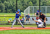 Niagara Power Frank Lucska (25) swinging at a pitch against the Cortland Crush and Catcher Dylan Nolan (14) in New York Collegiate Baseball League playoff action at Gutchess Lumber Sports Complex in Cortland, New York on Saturday, July 27, 2019. Niagara won 10-6.