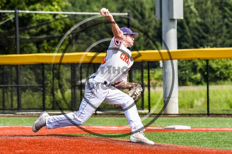Cortland Crush Maxx Kies (22) pitching against the Niagara Power in New York Collegiate Baseball League playoff action at Gutchess Lumber Sports Complex in Cortland, New York on Saturday, July 27, 2019. Niagara won 10-6.