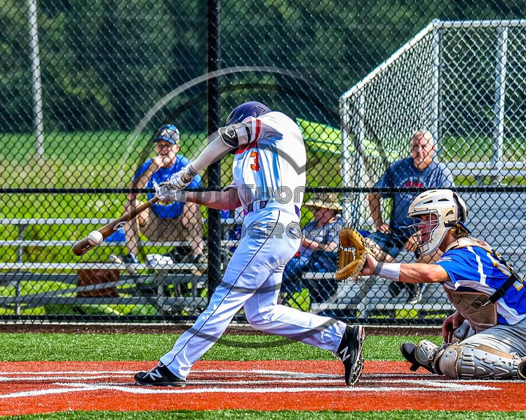 Cortland Crush Anthony Cieszko (3) puts bat on ball against the Niagara Power in New York Collegiate Baseball League playoff action at Gutchess Lumber Sports Complex in Cortland, New York on Saturday, July 27, 2019. Niagara won 10-6.