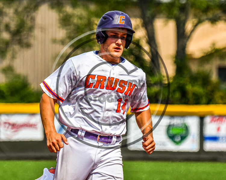 Cortland Crush Dylan Nolan (14) running the bases against the Niagara Power in New York Collegiate Baseball League playoff action at Gutchess Lumber Sports Complex in Cortland, New York on Saturday, July 27, 2019. Niagara won 10-6.