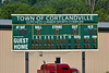 Score before the Cortland Crush went to bat in the bottom of the 9th inning against the  Niagara Power in New York Collegiate Baseball League playoff action at Gutchess Lumber Sports Complex in Cortland, New York on Saturday, July 27, 2019. Niagara won 10-6.