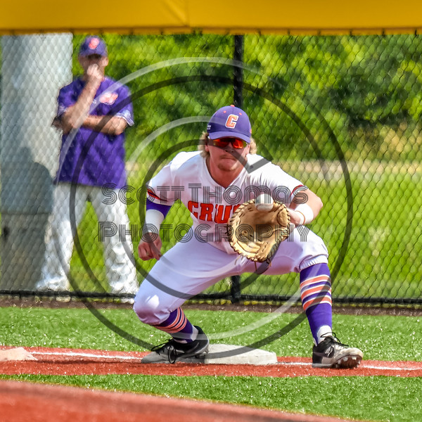 Cortland Crush Hayden Houts (5) playing First Base against the Niagara Power in New York Collegiate Baseball League playoff action at Gutchess Lumber Sports Complex in Cortland, New York on Saturday, July 27, 2019. Niagara won 10-6.