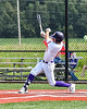 Cortland Crush Nicholas Pastore (1) after hitting the ball against the Niagara Power in New York Collegiate Baseball League playoff action at Gutchess Lumber Sports Complex in Cortland, New York on Saturday, July 27, 2019. Niagara won 10-6.
