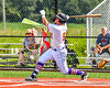 Cortland Crush Hayden Houts (5) after hitting the ball against the Niagara Power in New York Collegiate Baseball League playoff action at Gutchess Lumber Sports Complex in Cortland, New York on Saturday, July 27, 2019. Niagara won 10-6.