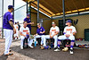 Cortland Crush players Alex Flock (10), Stephen Bennett (30) and Hayden Houts (5) before playing the Niagara Power in the New York Collegiate Baseball League Championship Series at Gutchess Lumber Sports Complex in Cortland, New York on Saturday, July 27, 2019.