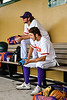Cortland Crush players Max Flock (12) and Nicholas Pastore (1) before playing the Niagara Power in the New York Collegiate Baseball League Championship Series at Gutchess Lumber Sports Complex in Cortland, New York on Saturday, July 27, 2019.