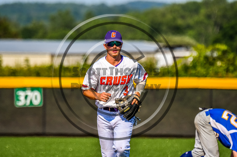 Cortland Crush Anthony Cieszko (3) jogs in after completing a Double Play to end the inning against the Niagara Power in New York Collegiate Baseball League playoff action at Gutchess Lumber Sports Complex in Cortland, New York on Saturday, July 27, 2019. Niagara won 10-6.