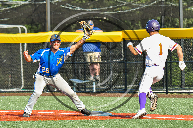 Niagara Power Frank Lucska (25) forces Cortland Crush Nicholas Pastore (1) out at First Base in New York Collegiate Baseball League playoff action at Gutchess Lumber Sports Complex in Cortland, New York on Saturday, July 27, 2019. Niagara won 10-6.