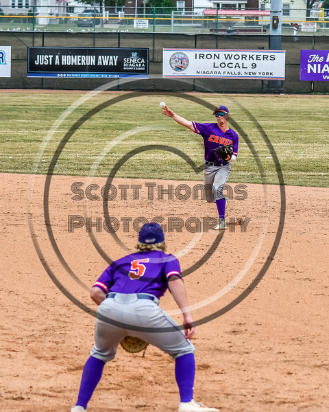 Cortland Crush Anthony Cieszko (3) throwing the ball to Hayden Houts (5) for an out against the Niagara Power in New York Collegiate Baseball League playoff action at Sal Maglie Stadium in Niagara Falls, New York on Sunday, July 28, 2019. Niagara won 12-6.