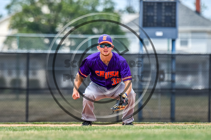 Cortland Crush Stephen Bennett (30) playing Third Base against the Niagara Power in New York Collegiate Baseball League playoff action at Sal Maglie Stadium in Niagara Falls, New York on Sunday, July 28, 2019. Niagara won 12-6.