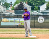 Cortland Crush Kam Holland (43) at Second Base after hitting a Double against the Niagara Power in New York Collegiate Baseball League playoff action at Sal Maglie Stadium in Niagara Falls, New York on Sunday, July 28, 2019. Niagara won 12-6.
