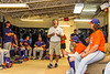 NYCBL Commissioner Joe Brown talks with the Cortland Crush played before a New York Collegiate Baseball League Championship game at Sal Maglie Stadium in Niagara Falls, New York on Sunday, July 28, 2019.