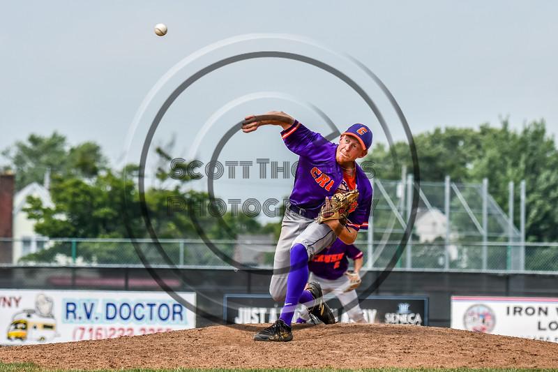 Cortland Crush Jonathan Triesler (19) pitching against the Niagara Power in New York Collegiate Baseball League playoff action at Sal Maglie Stadium in Niagara Falls, New York on Sunday, July 28, 2019. Niagara won 12-6.